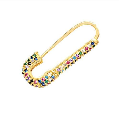 Safety Pin Single Earring - Rainbow