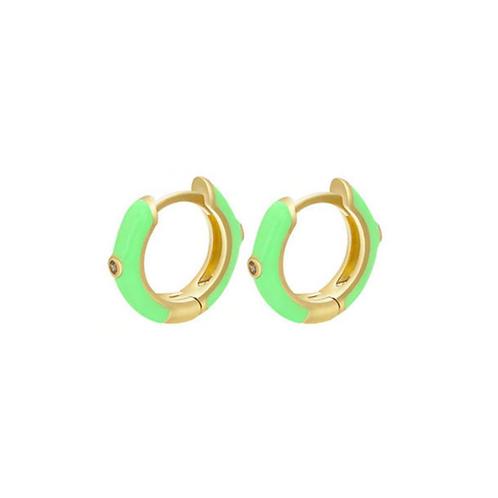 Green Huggie Hoops