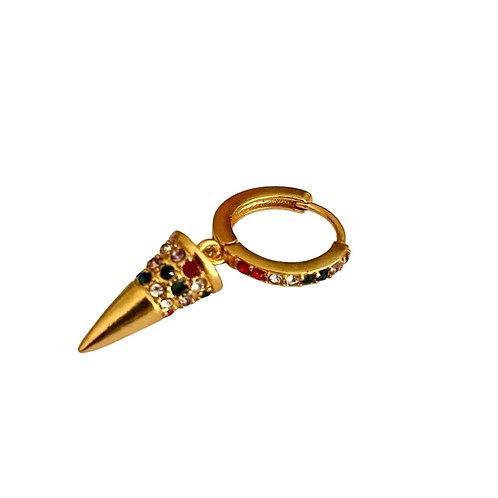 Single Cone Huggie Hoop - Gold