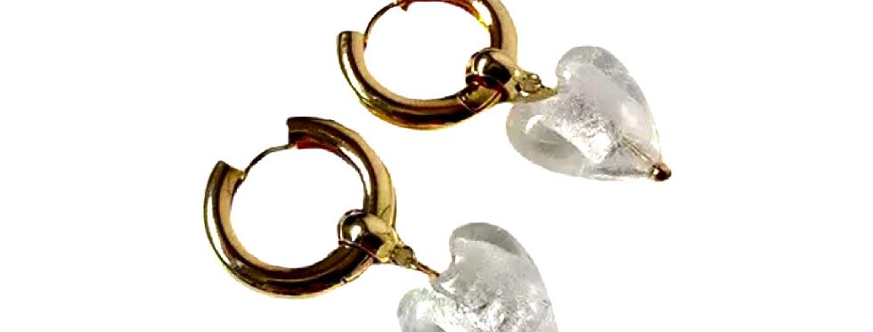 Glass Heart Earrings - White