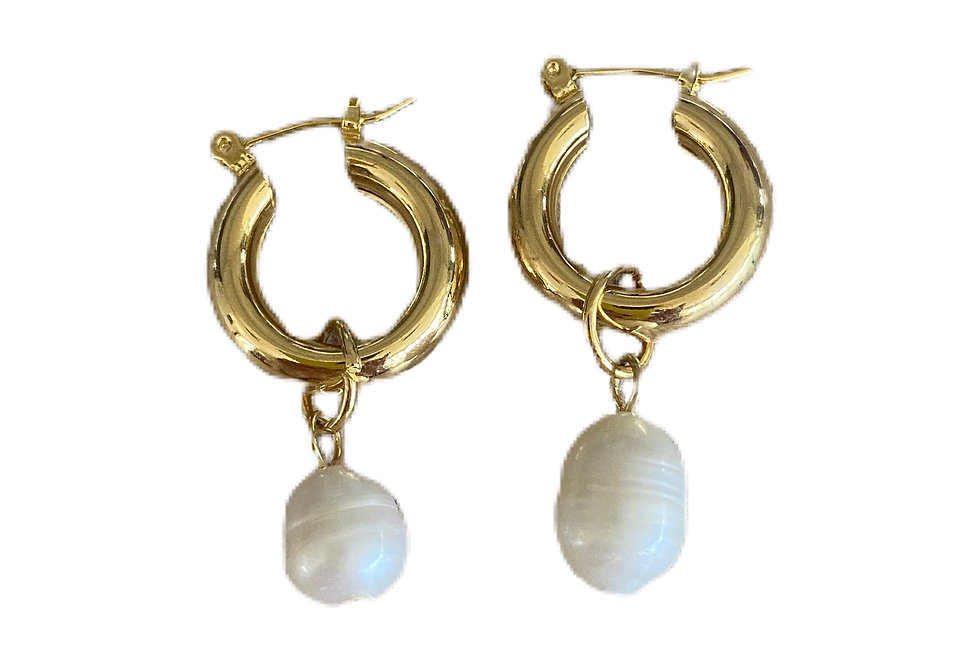 Small Pearl Drop Hoops - Gold