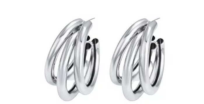 Triple Hoops - Silver