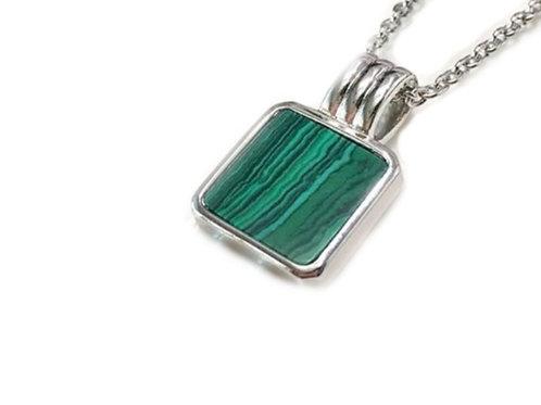 Green Malachite Square Necklace - Silver