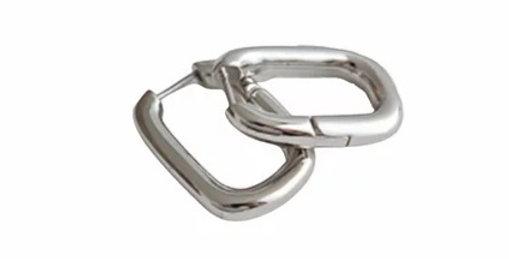 Geometric Huggie Hoops - Silver