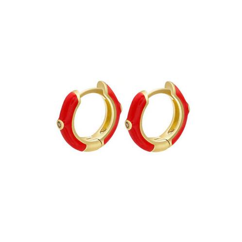 Red Huggie Hoops