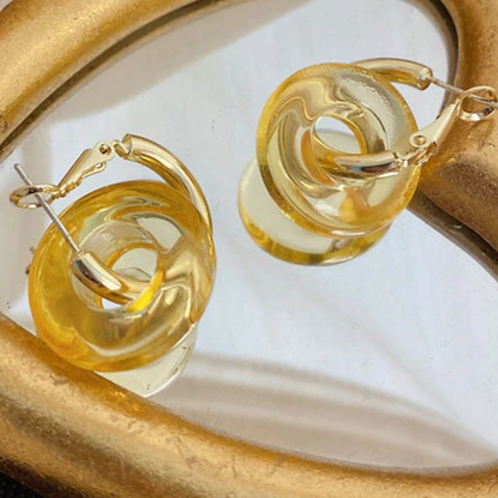 Coloured Resin Hoops - Gold