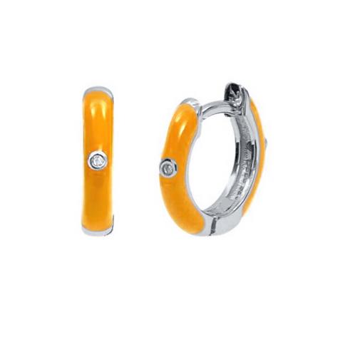 Coloured Huggie Hoops - Silver