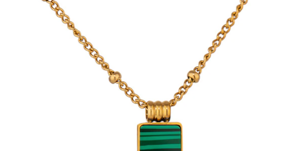 Green Malachite Square Necklace - Gold