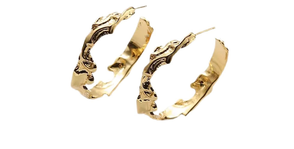 Large Hammered Metal Hoops - Gold