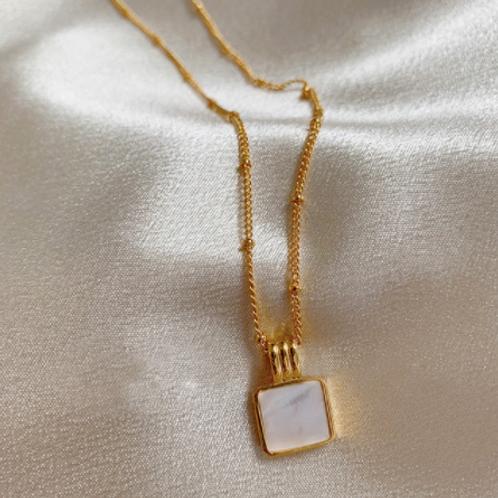 Pearl Malachite Square Necklace