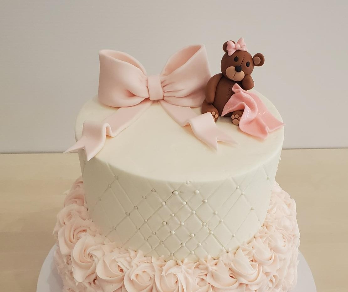 Hand Crafted Fondant Bear & Bow