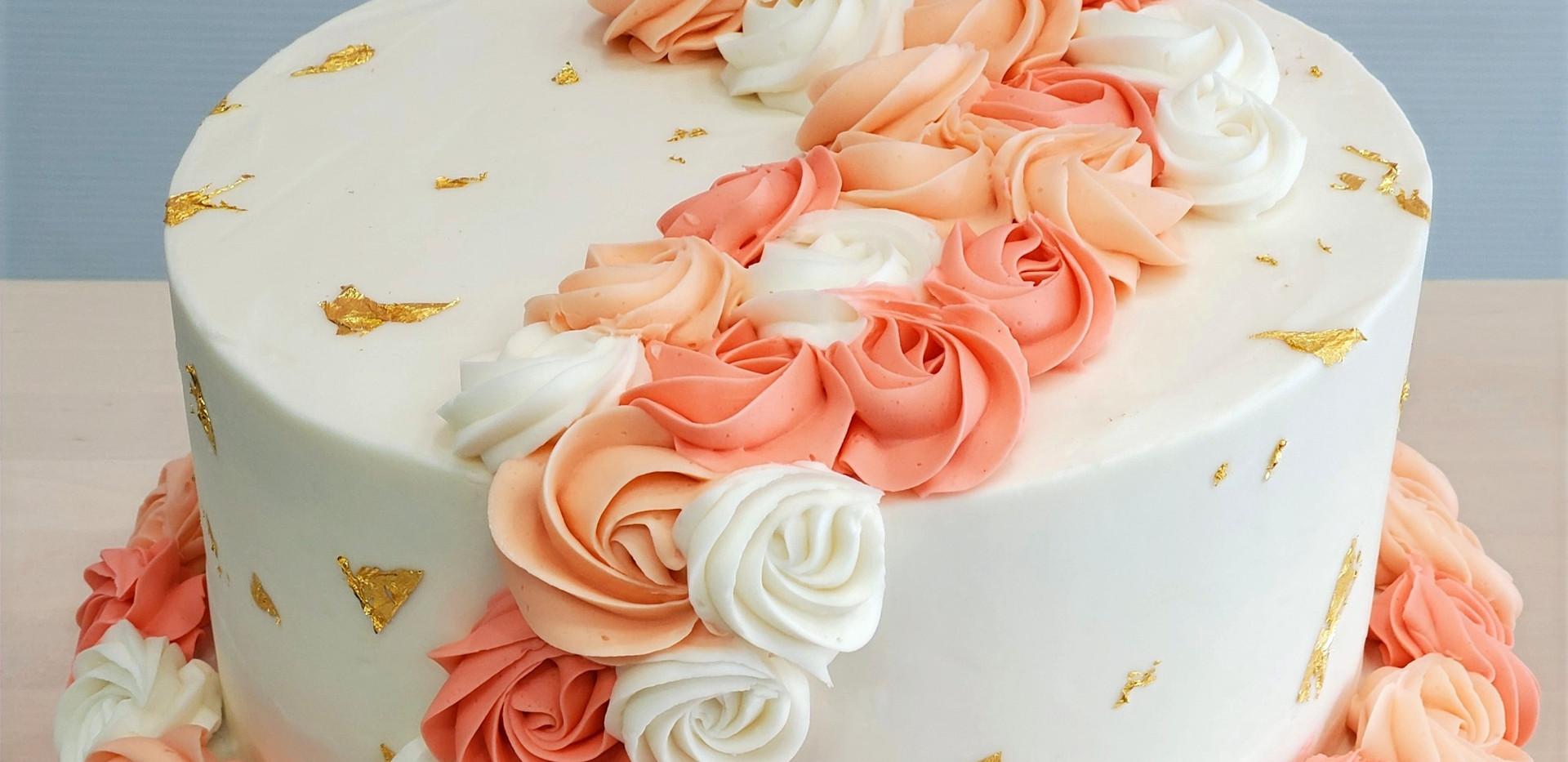 Custom Baby Shower Cake w/ Rossettes