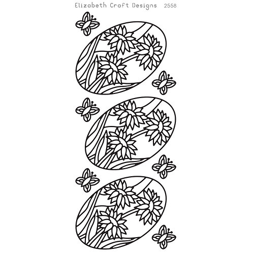 ECD Stickers Daisies in Oval, Black, 2558