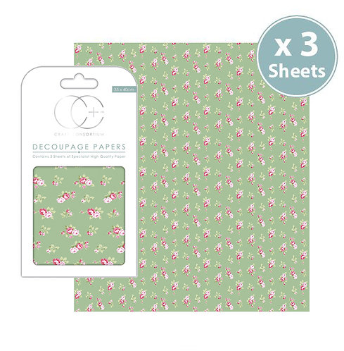 Decoupage Papers - Tossed Roses Green