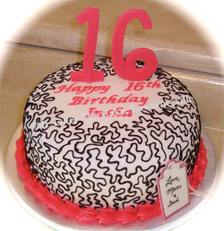 Sweet 16 simple pink & black cake