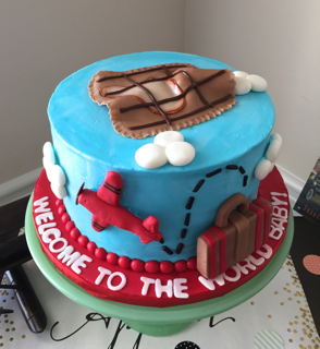 World Traveler Airplane Cake