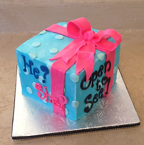 fun gender reveal cake