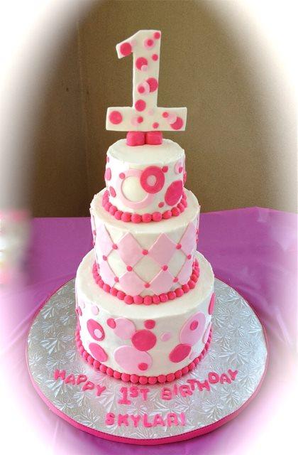 1st birthday 3 tier pink and white.jpg