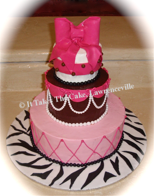 Hot Pink brown black & white bow.png