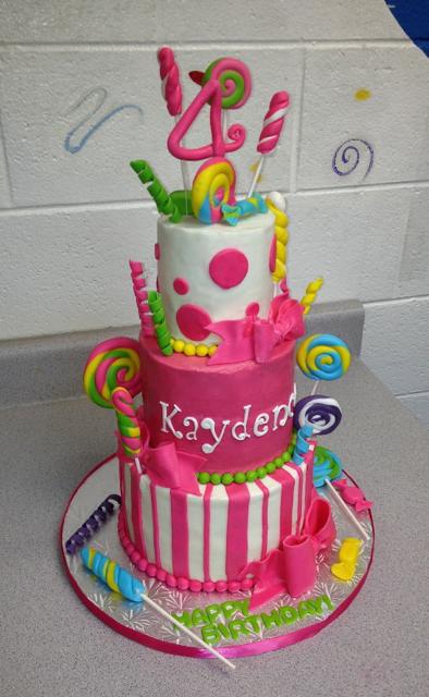 Birthday 3 tier candy lollipops cake