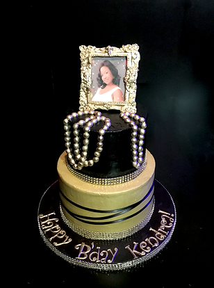 Gold And Black Birthday Cake