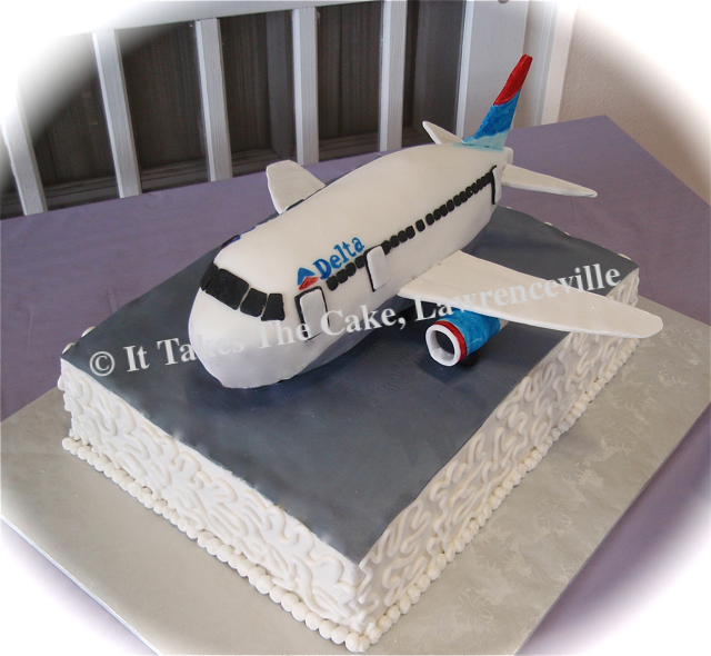 Grooms Boing 767 Airplane Carved Cake