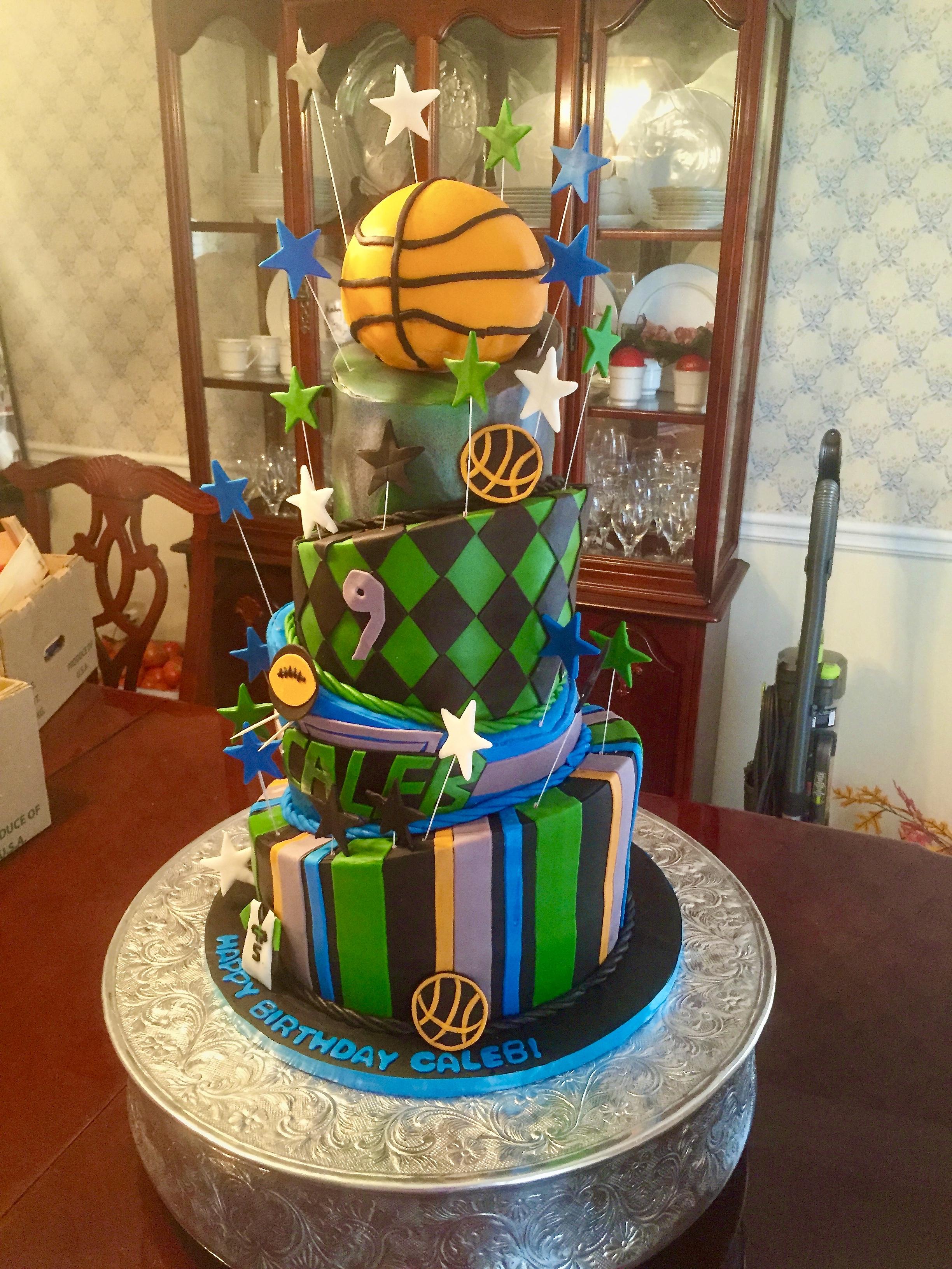 Topsy Turvy Basketball Cake