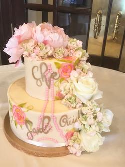 #handpaintedcake #engagementcake