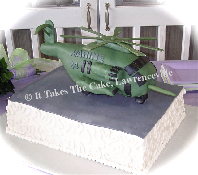 Grooms Helicopter Carved Cake
