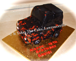 Carved cake Jeep mud