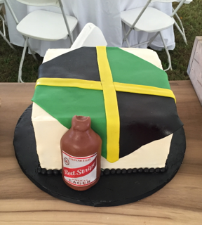Jamaican Red Stripe Flag cake