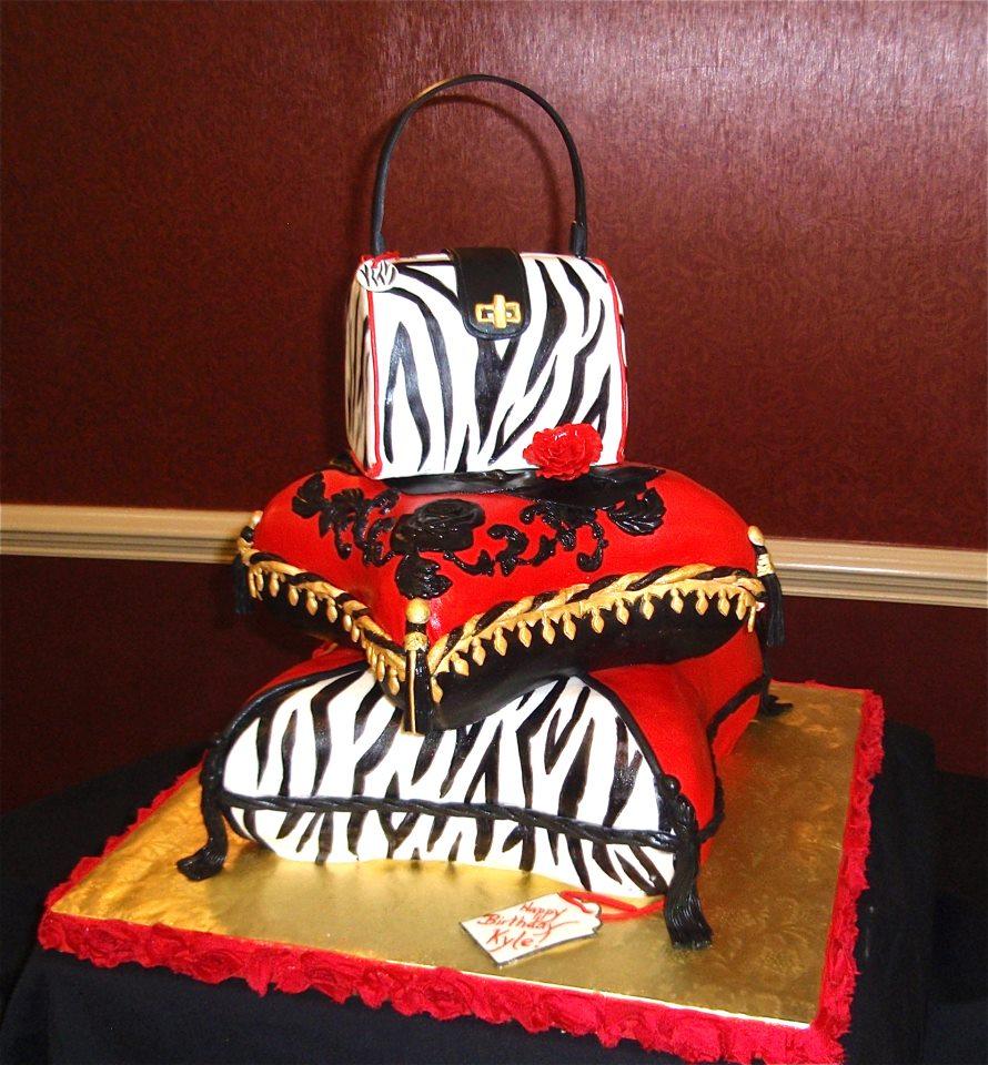 Birthday 3 tier zebra purse on 2 pillows.jpg