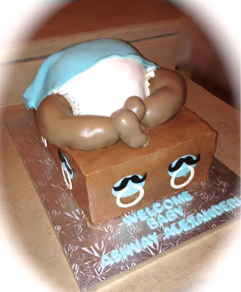 Baby Bottom Bum cake Mustache