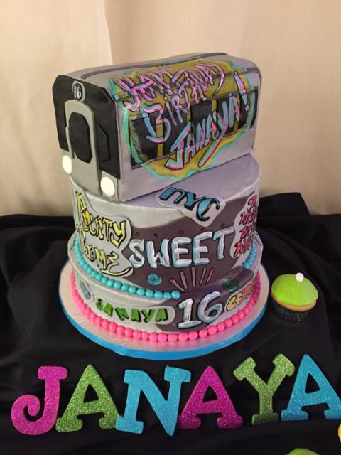 Graffiti Sweet 15 cake