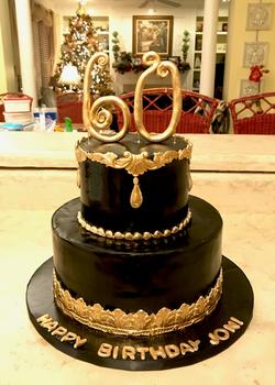 #blackandgoldbirthdaycake