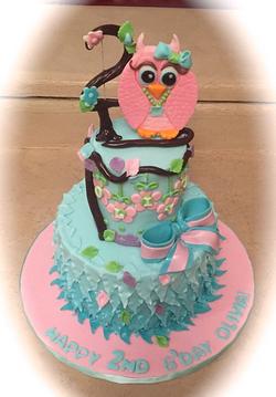 Birthday Owl feathers Aqua cake