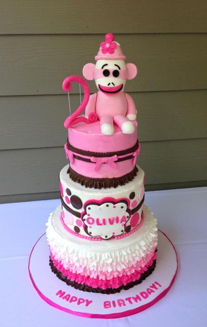 BIrthday Pink Sock Monkey Ruffles