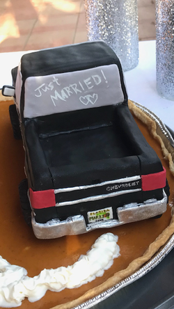 Just Married Carved Truck