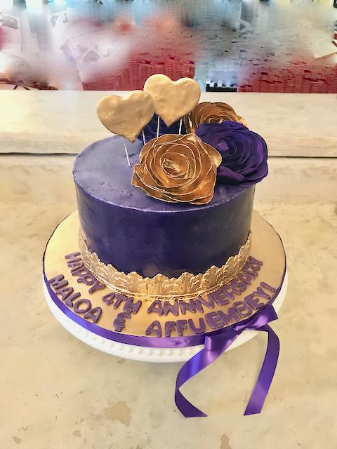 #purpleandgoldanniversarycake