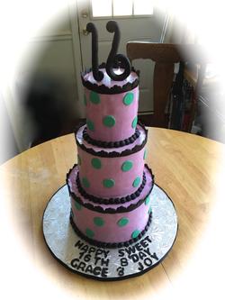 Birthday Pink Teal Sweet 16 cake