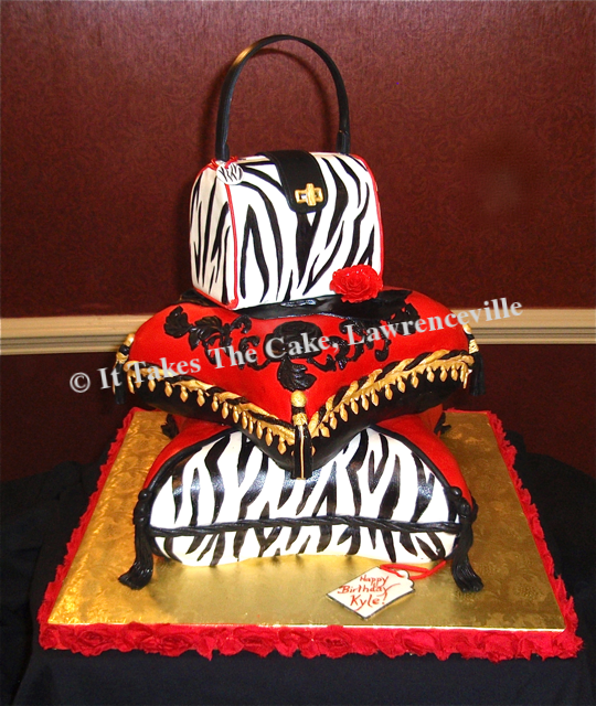 Carved 3-D Pillows & Purse cake