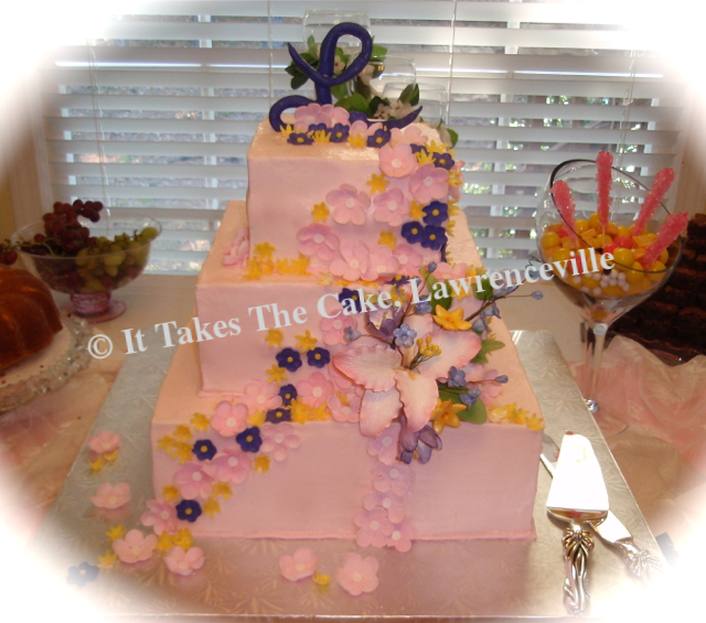 Wedding Cake Pink Flowers .png