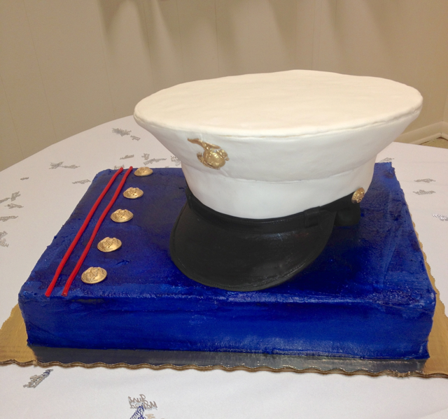 Groom's Marine Corp Hat Cover cake
