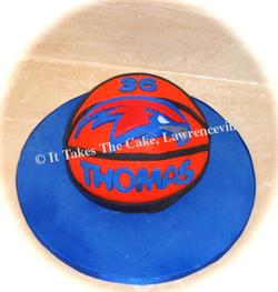 Carved 3-D basketball cake