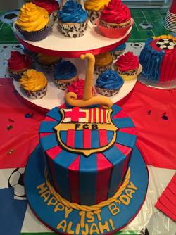 Soccer Birthday Cake & Cupcakes