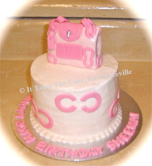 Pink purse topper cake