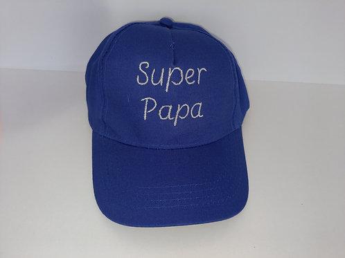 """Casquette adulte bleu royal """"Super papa"""""""
