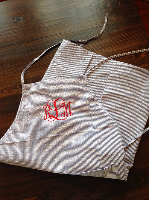 The Classic Navy Seersucker Apron