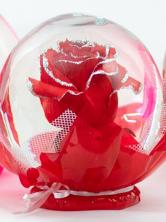 Red with Silver Glitter Flower Globe