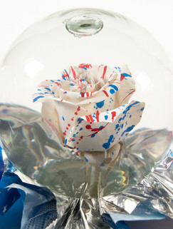 White with Red and Blue Paint Splatter F